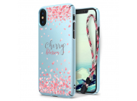 Husa Plastic Ringke Cherry Blossom + snur pentru Apple iPhone X, Bleu, Blister
