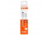 Cablu Date USB la USB Type-C Acme Europe AD01S, 0.9 m, Alb, Blister