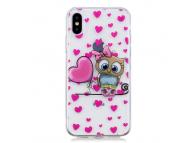 Husa TPU OEM Love Owl pentru Apple iPhone X, Multicolor, Bulk