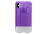 Husa Plastic Spigen Classic C1 pentru Apple iPhone X, Mov - Transparenta, Blister 057CS24431