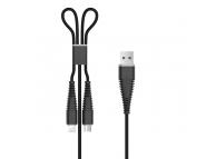 Cablu Date si Incarcare USB la Lightning - USB la MicroUSB DEVIA Fish, 1.2 m, Negru, Blister