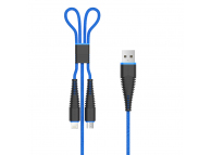 Cablu Date si Incarcare USB la Lightning - USB la MicroUSB DEVIA Fish, 1.2 m, Albastru, Blister
