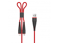 Cablu Date si Incarcare USB la Lightning - USB la MicroUSB DEVIA Fish, 1.2 m, Rosu, Blister