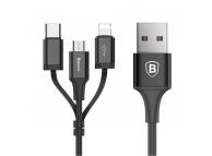 Cablu Date si Incarcare USB la Lightning - USB la MicroUSB - USB la USB Type-C Baseus Excellent 3in1, 1.2 m, Negru, Blister