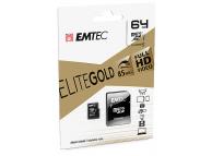 Card Memorie MicroSDHC Emtec EliteGold, 64Gb, Clasa 10 - UHS-1 U1, Blister EM-ECMSDM6