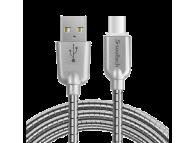 Cablu Date si Incarcare USB la USB Type-C Soultech Metalic Fast Platinum DK025GR, 1 m, Gri, Blister