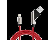 Cablu Date si Incarcare USB la Lightning Soultech Moveable Fast Platinum DK026K, 1 m, Rosu, Blister