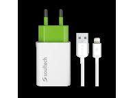 Incarcator Retea cu cablu Lightning Soultech Comfort SC011B, 1 X USB, Alb, Blister