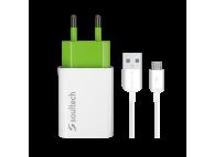 Incarcator Retea cu cablu MicroUSB Soultech Comfort SC212B, Quick Charge, 2A, 1 X USB, Alb, Blister