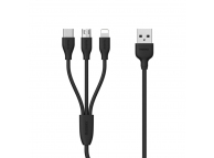 Cablu Incarcare USB la Lightning - USB la MicroUSB - USB la USB Type-C Remax RC-109th,3 in 1, 1 m, Negru, Blister