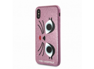 Husa Plastic Karl Lagerfeld KLHCPXGLCHPI pentru Apple iPhone X, Roz, Blister