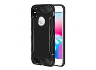 Husa TPU OEM Carbon fiber pentru Apple iPhone X, Neagra, Bulk