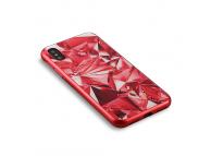 Husa OEM Glass Case Diamond pentru Apple iPhone X, Rosie, Bulk