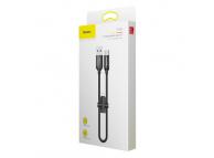 Cablu Date si Incarcare USB la MicroUSB - USB la USB Type-C Baseus U-Shaped, 0.23 m, Negru, Blister