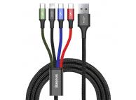 Cablu Incarcare USB la Lightning - USB la MicroUSB - 2 x USB la USB Type-C Baseus Rapid, 1.2 m, Negru, Blister
