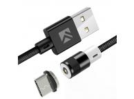 Cablu Incarcare USB la USB Type-C Floveme Magnetic, 1 m, Negru, Blister