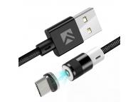 Cablu Incarcare USB la MicroUSB Floveme Magnetic, 1 m, Negru, Blister