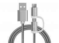 Cablu Date si Incarcare USB la MicroUSB - USB la USB Type-C OEM Woven, 1 m, Alb, Bulk
