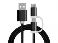 Cablu Date si Incarcare USB la MicroUSB - USB la USB Type-C Reekin Woven, 1 m, Negru, Blister