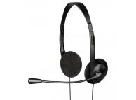 Casti cu microfon Exxter HE-100, Negre, Blister