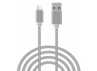 Cablu Date si Incarcare USB la MicroUSB OEM Woven, 2 m, Argintiu, Bulk