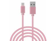 Cablu Date si Incarcare USB la MicroUSB OEM Woven, 2 m, Roz, Bulk