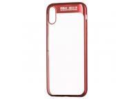 Husa TPU Remax Modi pentru Apple iPhone X / Apple iPhone XS, Rosie - Transparenta, Blister