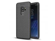 Husa TPU OEM Litchi pentru Samsung Galaxy S9+ G965, Neagra, Bulk