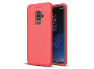 Husa TPU OEM Litchi pentru Samsung Galaxy S9+ G965, Rosie, Bulk