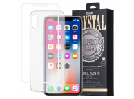 Pachet promotional Remax Husa TPU transparenta + Folie Protectie Ecran pentru Apple iPhone X, Sticla Securizata, Full Face, Crystal, Alba, Blister