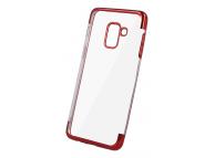 Husa TPU OEM Electro pentru Samsung Galaxy A6 2018 A600, Rosie - Transparenta, Bulk