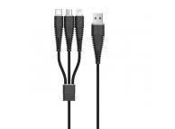 Cablu Date si Incarcare USB la Lightning - USB la MicroUSB - USB la USB Type-C DEVIA, 1.2 m, Negru, Blister