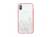 Husa TPU DEVIA Meteor pentru Apple iPhone X / Apple iPhone XS, Rosie - Transparenta, Blister