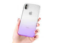 Husa TPU OEM Ombre pentru Apple iPhone X / Apple iPhone XS, Mov, Bulk