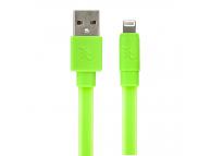 Cablu Date si Incarcare USB la Lightning Gecko Flat Glow, 1.2 m, Verde, Blister GG100131