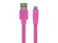 Cablu Date si Incarcare USB la Lightning Gecko Flat Glow, 1.2 m, Roz, Blister GG100132