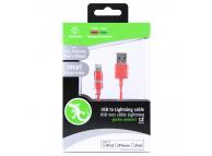 Cablu Date si Incarcare USB la Lightning Gecko Smart Led, 1.2 m, Roz, Blister GG100107