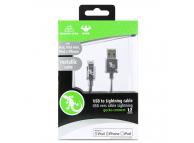 Cablu Date si Incarcare USB la Lightning Gecko Metallic, 1.2 m, Gri, Blister GG100124