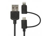 Cablu Date si Incarcare USB la Lightning - USB la MicroUSB Gecko, 1 m, Negru, Blister GG100094