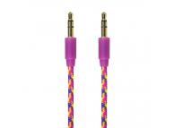 Cablu Audio 3.5 mm la 3.5 mm Gecko, 1 m, Mov - Roz, Blister GG100087