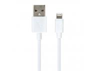 Cablu Date si Incarcare USB la Lightning Gecko Slimline, 1.5 m, Alb, Blister GG100032