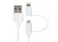 Cablu Date si Incarcare USB la Lightning - USB la MicroUSB Gecko, 1 m, Alb, Blister GG100153