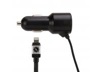 Incarcator Auto cu fir Lightning Gecko RUGGED, 1 X USB, 2.4A, Negru, Blister GG520002