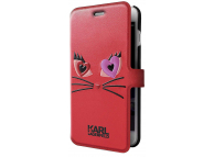 Husa Piele Karl Lagerfeld Choupette in love pentru Apple iPhone 7 / Apple iPhone 8, Rosie, Blister KLFLBKP7CL2RE