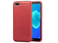 Husa TPU OEM Litchi pentru Huawei Y5 Prime (2018), Rosie, Bulk