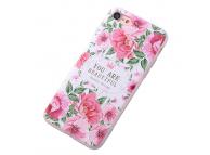 Husa TPU OEM Beautiful Peony pentru Apple iPhone 7 / Apple iPhone 8, Multicolor, Bulk