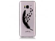 Husa TPU OEM Birds Feathers Samsung Galaxy S8 G950, Neagra - Transparenta, Bulk