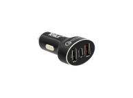 Incarcator Auto cu cablu MicroUSB - USB Tip-C Tellur Quick Charge 3.0, 3 x USB, Negru, Blister TLL151051