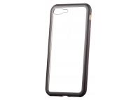 Husa Aluminiu OEM Magnetic Frame cu spate din sticla pentru Apple iPhone 7 Plus / Apple iPhone 8 Plus, Aurie - Neagra, Bulk