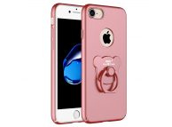 Husa Plastic AIQAA Bear Ring pentru Apple iPhone 7 / Apple iPhone 8, Roz, Bulk